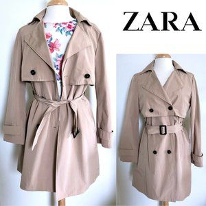 ZARA classic double breasted belted trench coat M